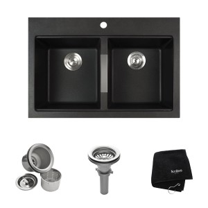 kraus kgd 433b 33 12 inch dual mount 5050 double bowl black onyx granite kitchen sink - Kitchen Sink Drain Configurations
